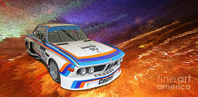 1973 Bmw 3.0 Csl Batmobile Touring Car Poster by Roger Lighterness