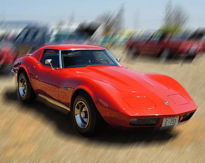 Poster featuring the photograph 1973 Corvette by B Wayne Mullins