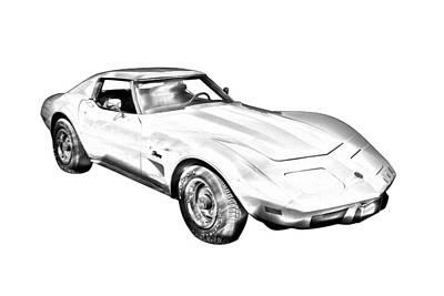 1975 Corvette Stingray Sports Car Illustration Poster