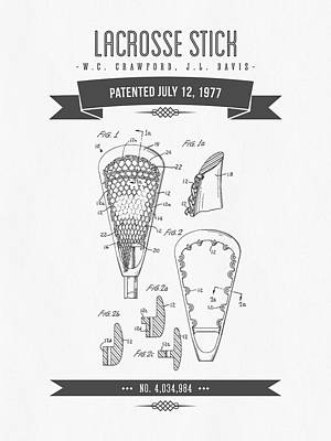 1977 Lacross Stick Patent Drawing - Retro Gray Poster by Aged Pixel