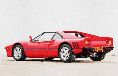 1980 Ferrari 288 Gto Watercolor Poster by Naxart Studio