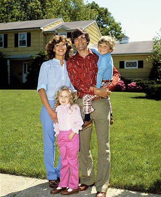 1980s Family Portrait On Front Lawn Poster