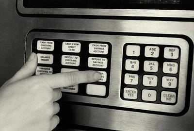 1980s Hand Pressing Buttons On Panel Poster