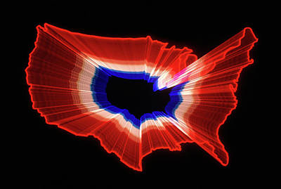 1980s Luminous Zoomed Red White Poster