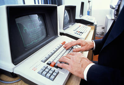 1980s Male Hands On Keyboard Of Old Poster