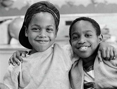 1980s Two African American Boys Smiling Poster