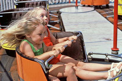 1980s Two Blond Girls Sisters Riding Poster