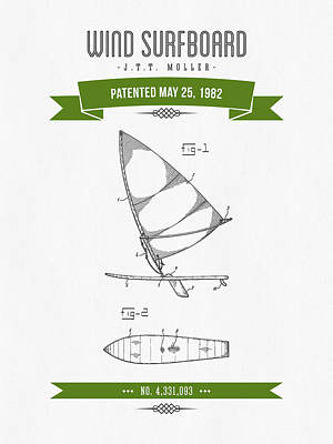 1982 Wind Surfboard Patent Drawing - Retro Green Poster by Aged Pixel
