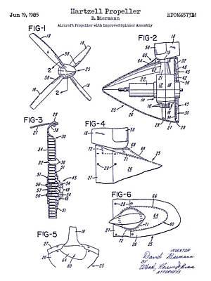 1985 Propeller Patent Blueprint Poster by Jon Neidert