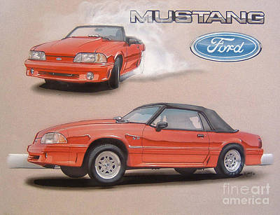 1991 Ford Mustang Poster by Paul Kuras