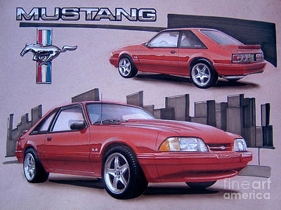 1993 Ford Mustang Poster by Paul Kuras