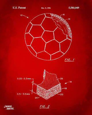 1996 Soccerball Patent Artwork - Red Poster by Nikki Marie Smith