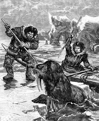 19th Century Eskimos Hunting Poster by Collection Abecasis