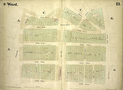 1st Ward. Plate B Map Bounded By Stone Street, Beaver Poster by Litz Collection