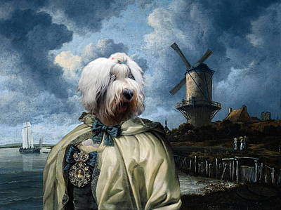 Bobtail - Old English Sheepdog Art Canvas Print Poster