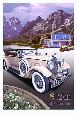 Poster featuring the photograph 1930 Packard 740 Phaeton  by Ed Dooley