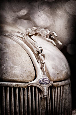 1936 Ford Cabriolet Hood Ornament Poster by Jill Reger