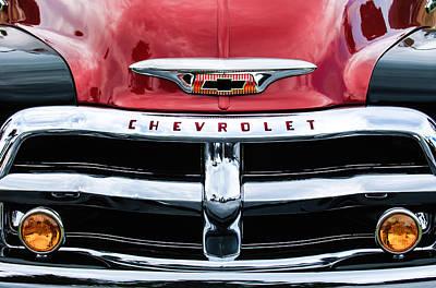 1955 Chevrolet 3100 Pickup Truck Grille Emblem Poster by Jill Reger