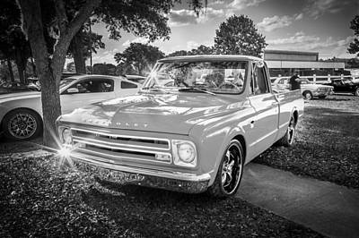 1967 Chevy Silverado Pick Up Truck  Bw Poster by Rich Franco