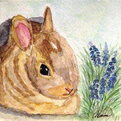 Poster featuring the painting A Baby Bunny by Angela Davies