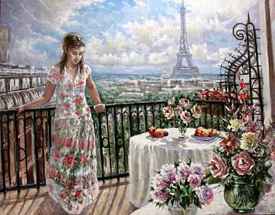 A Balcony In Paris Poster by Dmitri Kulikov