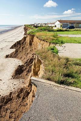 A Collapsed Coastal Road At Skipsea Poster