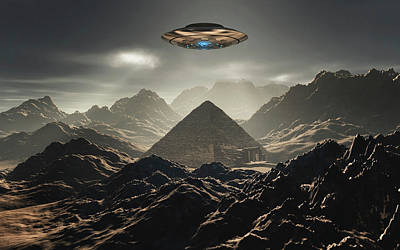 A Flying Saucer Hovering Over A Pyramid Poster