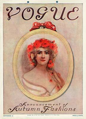 A Vintage Vogue Magazine Cover Of A Woman Poster by Artist Unknown