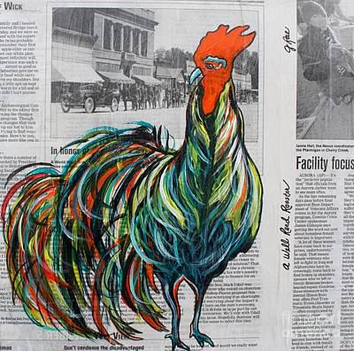 Poster featuring the painting A Well Read Rooster by Janice Rae Pariza