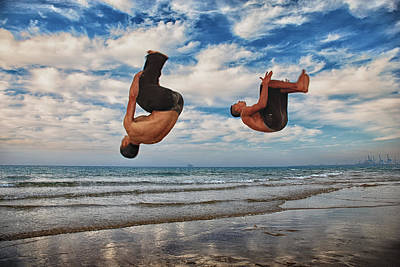 Acrobats On The Beach Poster by Meir  Jacob