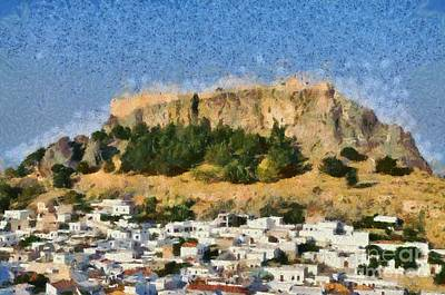 Acropolis And Village Of Lindos Poster