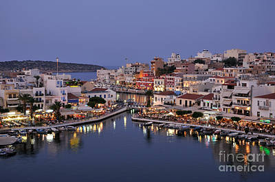Agios Nikolaos City During Dusk Time Poster