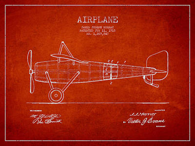 Airplane Patent Drawing From 1918 Poster