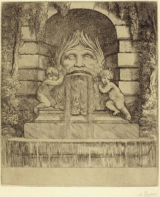 Alphonse Legros, Fountain Grotesque, Children And Basin Une Poster