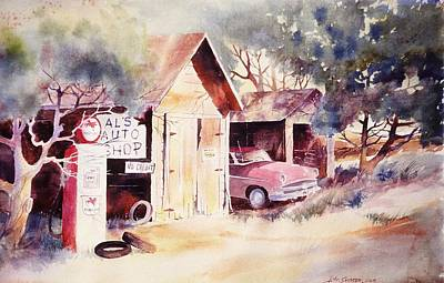 Poster featuring the painting Al's Auto Shop by John  Svenson