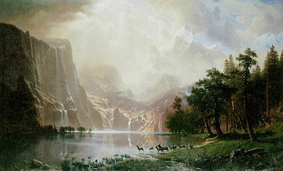Among The Sierra Nevada Mountains California Poster by Albert Bierstadt
