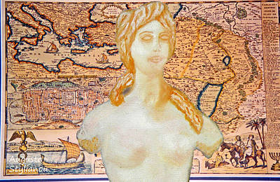Ancient Middle East Map And Aphrodite Poster by Augusta Stylianou