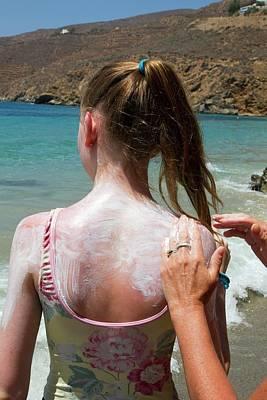 Applying Sun Cream Poster by Mark Thomas