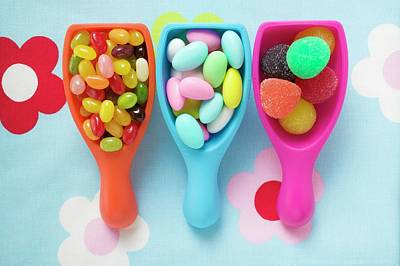 Assorted Coloured Sweets In Plastic Scoops Poster
