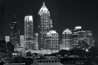 Atlanta Black And White Night Poster