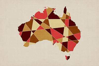 Australia Geometric Retro Map Poster