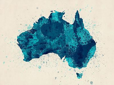 Australia Paint Splashes Map Poster by Michael Tompsett