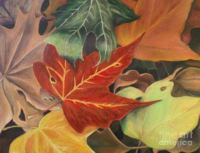 Autumn Leaves In Layers Poster by Christy Saunders Church