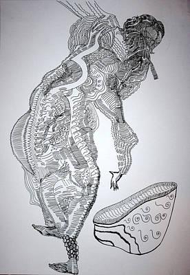 Poster featuring the drawing Bakiga Dance - Uganda by Gloria Ssali