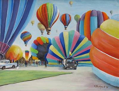 Poster featuring the painting Balloon Fest by Oz Freedgood