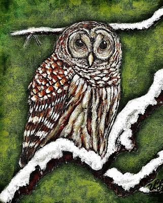 Poster featuring the painting Barred Owl by VLee Watson