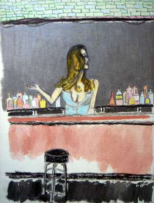 Poster featuring the painting Bartender by J Anthony