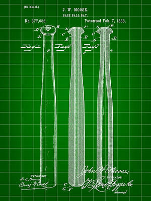 Baseball Bat Patent 1888 - Green Poster