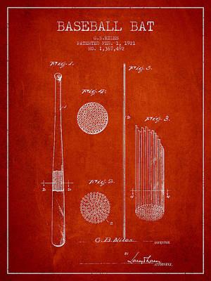 Baseball Bat Patent Drawing From 1921 Poster