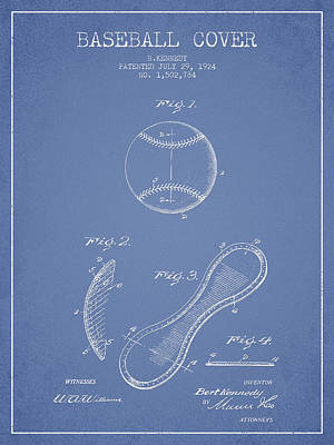 Baseball Cover Patent Drawing From 1924 Poster by Aged Pixel